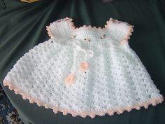 Free Crochet Baby Dress Patterns | White crochet baby dress 003 | Flickr - Photo Sharing!