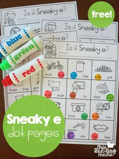 Free Sneaky e Dot Pages! Such a fun way to teach kids about the bossy e / magic e. Would make a great word work activity or literacy center!