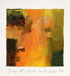 28 juillet 2014 - Original abstrait peinture à l'huile - 9 x 9 peinture (9 x 9 cm - env. 4 x 4 pouces) avec 8 x 10 pouces mat