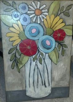 Acrylic painting on wood Folk Art Flowers, Abstract Flowers, Flower Art, Diy Painting, Painting & Drawing, Watercolor Paintings, Art Floral, Whimsical Art, Artist Art