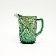 Carnival Glass  Poinsettia Milk Pitcher Helios Green, Vintage Imperial Glass. Scarce Color,  Collectors Condition by GBCsLegacies on Etsy