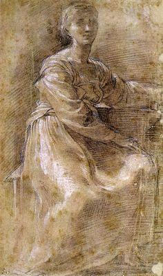 Parmigianino - Donna seduta. Esposta nel Gabinetto dei Disegni e delle Stampe, Museo nazionale di Capodimonte.