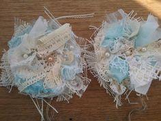 Shabby white Chic  blue Curtain Drapery Tie-Backs set handmade tattered New two #Handmade #Shabbycottagechic