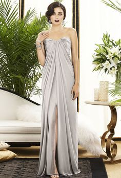 Brides: Dessy. Style 2879, lux chiffon dress in oyster, $264, Dessy available at Weddington Way