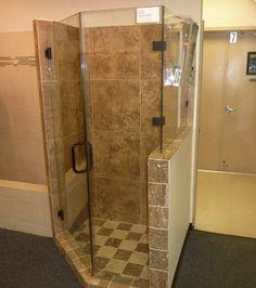 Bathroom, Bathroom Elegant Dark Iron Glass Shower Doors Set On Corner : Amazing Corner Shower Doors Glass