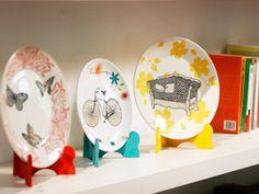 Platos decorados. Ideales para llenar un espacio y reciclar objetos en desuso :)