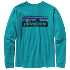 Patagonia Men's Long-Sleeved P-6 Logo T-Shirt ($45) ❤ liked on Polyvore featuring men's fashion, men's clothing, men's shirts, men's t-shirts, tops, shirts, patagonia, long sleeve shirts, t shirts and mens long shirts