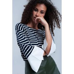 Navy striped top  ||  Top with navy and white stripes. Feature crew neckline with 3/4 sleeves and shirt fabric at the end of the sleeves. Lightweight soft woven fabric. Relaxed fit.  https://www.mymallmetro.com/products/navy-striped-top?utm_campaign=crowdfire&utm_content=crowdfire&utm_medium=social&utm_source=pinterest