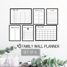Set of 6 Family Planner for Wall Family Planner, Wall Planner, Weekly Planner, Room Planner, Printer Paper, Inkjet Printer, Task List, Family Wall, Family Calendar Wall