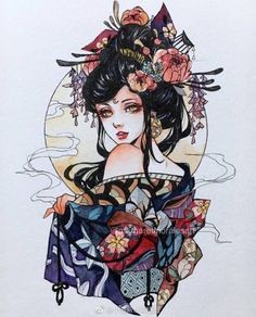 Margaret Morales is a visual designer, painter and watercolor artist from Philippines. Geisha Tattoos, Japon Illustration, Arte Sketchbook, Bild Tattoos, Witch Art, Pretty Art, Aesthetic Art, Cute Drawings, Traditional Art