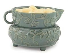 Herbal Mint Ceramic Warmer.  This electric wax warmer has an on/off switch on the cord and works best with 2-3 wax meltables.