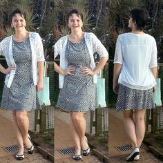 LEILA DINIZ *blog: #LookDoDia #vestido geométrico #coletinho de renda...