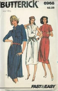 An unused original ca. 1980's Butterick pattern 6968.  Loose-fitting dress three inches below mid-knee has standing collar, placet front opening, patch pocket, bust darts, hack shoulder darts, elasticized waistline and side seam pockets.  View A:  has full length sleeves worn rolled up.  When sleeves are worn rolled up wrong side will show.  View B:  has short sleeves.  View C:  is sleeveless.  Topstitching.  Edgestitching.  Purchased belts.