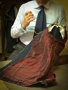 "sartoriaandco: "" Sartoria Pino Peluso Napoli Working on my Doppio Petto suit "" Bespoke Suit, Bespoke Tailoring, Mens Tailored Suits, Mens Suits, Tailoring Techniques, Sewing Techniques, Fashion Sewing, Mens Fashion, Suit Pattern"