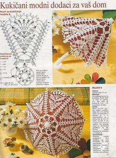 Dolce Vita: free crochet pattern chart, star shape umbrella little umbrella… Crochet Diagram, Crochet Chart, Thread Crochet, Crochet Motif, Crochet Designs, Crochet Stitches, Crochet Patterns, Crochet Doll Dress, Crochet Barbie Clothes