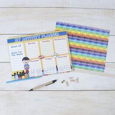 Activity Planner sheets with stickers of homework, vacation, birthday, class. #activityplannersheet #personalised #stationery #personalisedstationery #cupikdesign #india #school #kids #onlinestationery #sticker #homework #classes #vacation #birthday #planner #superboy #boys #littlesuperman