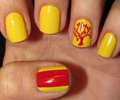 Polish Art Addict: Divergent Series - Amity Faction | Nail art inspired by the new flick, taken from a Graphic Art series yet again, called 'Divergent'. | Orange on yellow is one of my favorite color combos. I use LA Colors 'Color Craze' in #BCC567 - a warm yellow and MIlani 'Nail Art with Precision Brush' in #711 Orange Graph - a bold, bright orange. The thin brush that it has is awesome for making delicate or detailed designs like the tree on her ring-finger nail.