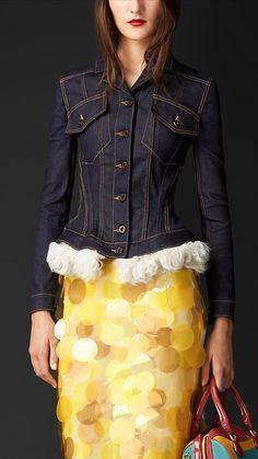 Burberry Indigo Wasp Waist Denim Jacket with Shearling - Image 1