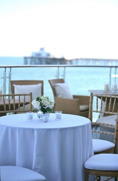 The oceanfront terrace at Malibu Beach Inn is available for holiday parties, corporate events, weddings and more.
