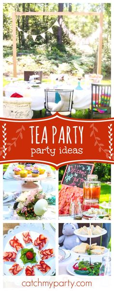 Treat yourself to some tea at this wonderful garden tea party. The table settings are gorgeous!! See more party ideas and share yours at CatchMyParty.com