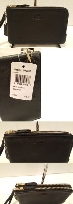 Wallets 45258: Nwt! Coach Pebbled Leather Black Double Zip Wristlet Wallet Bag F66505 -> BUY IT NOW ONLY: $44.5 on eBay!
