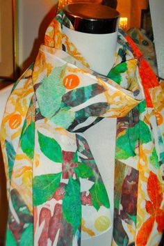 Handprinted Leaf Print Scarf by WildeNature on Etsy