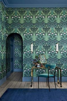This bold & beautiful Bluebell Wallpaper by Cole and Son forms part of the new Botanical Botanica Collection and features a fretwork of wild field flowers in a sophisticated Art Nouveau style. Cole And Son Wallpaper, Bold Wallpaper, Botanical Wallpaper, Wallpaper Direct, Wallpaper For Walls, Bold Living Room Wallpaper, Floral Print Wallpaper, Eclectic Wallpaper, Bohemian Wallpaper