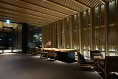 Kerry Hill Architects offers a sensitive interpretation of traditional Japanese architecture in this delightfully dramatic and welcoming hotel. Porte Cochere, Lobby Interior, Office Interior Design, Kerry Hill Architects, Elite Hotels, Country Style Living Room, Hotel Sheets, Lobby Reception, Hotel Safe