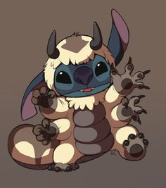 Appa Suit Stitch by *HappyCrumble. Disney and Avatar! Disney Stitch, Lilo And Stitch, Cartoon Cartoon, Avatar Aang, Avatar The Last Airbender, Disney And Dreamworks, Disney Pixar, Disney Love, Disney Art