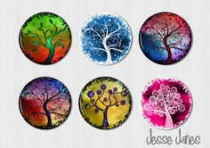 CURLY TREES (set 5) - set of 6 pin back buttons, flatbacks, magnets or toppers - please specify- magnets fit Magnabilities