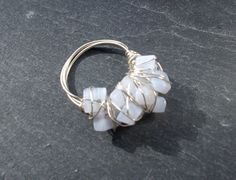 Blue cocktail gemstone wire wrapped ring by Ministryofshiny, £10.00