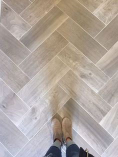 Love wood tile in a herringbone pattern. Such a great look and SO DURABLE! (Floo… Love wood tile in a herringbone pattern. Such a great look and SO DURABLE! Bathroom Flooring, Kitchen Flooring, Kitchen Wood, Kitchen Grey, Kitchen Tiles, Diy Kitchen, Kitchen Decor, Kitchen Design, Stone Kitchen
