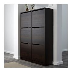 For Garage??? BISSA Shoe cabinet with 3 compartments - black/brown - IKEA
