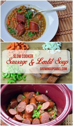 Comfort food is made easy with this slow cooker sausage and lentil soup recipe cooked in a Crock Pot. Perfect for families, this one pot meal is healthy thanks to the lentils and added spinach and other vegetables.