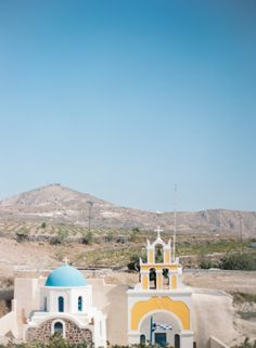 Blue and Yellow Church in Megalochori Santorini | photography by http://www.cinziabruschini.it