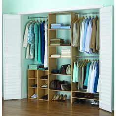 akadaHOME 25 in. 5-Shelf/3-Rod Laminate Closet Tower Organizer in Birch