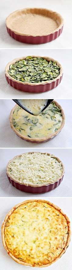 Love how this stylist laid it out step by step.  With a crisp and refreshing tangy salad, would be a perfect weekend lunch... Zucchini Quiche Recipe