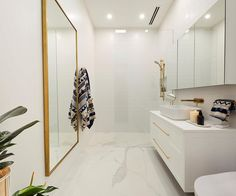 Tasked with completing a guest bedroom and a bathroom in one week, it's no surprised that some of The Block contestants failed to finish their ensuite this week. Revisit the room reveals, including Andy and Deb's winning bathroom. Ensuite Bathrooms, Bathroom Renos, Bathroom Ideas, Bathroom Interior, Gold Bathroom, The Block Bathroom, The Block Australia, White Wall Tiles, Wall Hung Vanity
