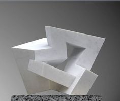 Carrara marble Conceptual Art sculpture by artist Neil Ferber titled: 'On Edge (abstract Contemporary marble Indoor Carving statue)'