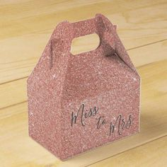 Miss to Mrs Bridal Shower Party Rose Gold Sparkle Favor Box - bridal party gifts wedding ideas diy custom