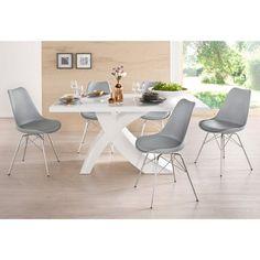 Lot de 2 chaises design imitation cuir et pieds métal - 3Suisses