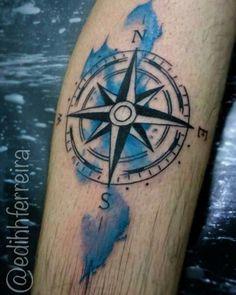 #tattoo #tattooed #ink #inked #eletricink #watercolortattoo #watercolor #watercolour #windrose #windrosetattoo #rosadosventos #rosadosventostattoo #bluetattoo #lines #inspirationtatto #tattoo2me #aquarela #tattooaquarela #aquarelatattoo #geografia #geography by edihhferreira