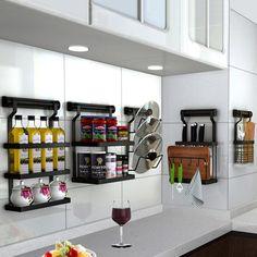 Stainless Steel Storage Holders Racks – KawayMigi Kitchen Room Design, Home Decor Kitchen, Interior Design Kitchen, Steel Storage Rack, Diy Storage, Storage Racks, Kitchen Organization, Kitchen Storage, Organizing