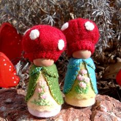 Toadstool gnomes  Great pin Lynn I love these guys