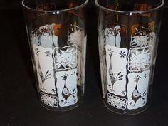 Pr Vtg Mid Century Bar Glasses White Gold Modernist Stylized Rooster Sun Theme