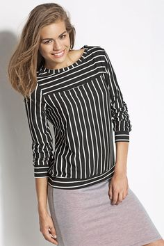 Fashion Blouse in Black and White with Striped Casual Blouse