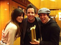 yayy!! pierre, david, and marie mai hold award for french version of 'jet lag' they won!!!!!