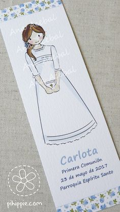 Marca páginas personalizado Primera Comunión Angela, Happy Birthday Greetings, Confirmation, Ideas Para, Liberty, Craft Ideas, Mariana, Fantasy, Block Prints