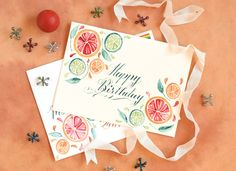 Design Motif Tutorials Part II: Citrus Fruits | Watercolor Birthday card.