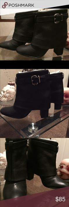 Schultz black leather boots!! New!! These are some gorgeous unique black leather cuffed ankle boots. Comes new with the box with a thicker heel SCHUTZ Shoes Ankle Boots & Booties